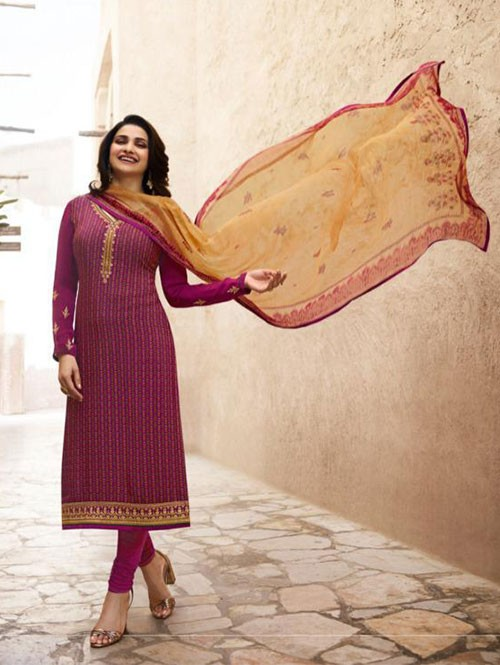 Prachi Desai in Pink Colored Crepe Straight Cut Printed Suit -Royal Crepe