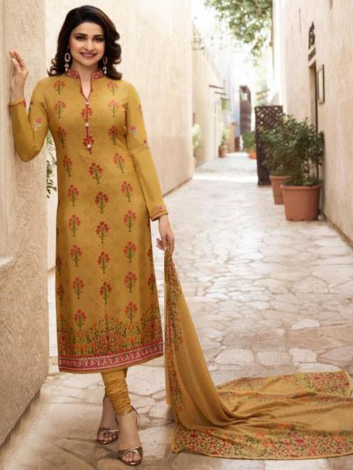 Prachi Desai in Yellow Colored Crepe Straight Cut Printed Suit -Royal Crepe