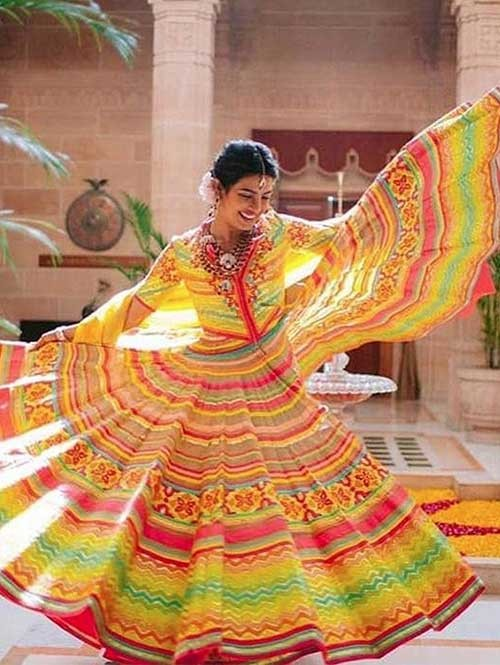 Priyanka Chopra In Multi Colored Tapeta Silk Lehenga With Beautiful Multi Crop Top