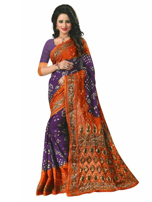 Purle Color Printed bandhni Bhagalpuri saree