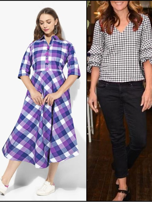 Purple and Black Colored Beautiful A-Line Cotton Kurti and Ruffle Sleeves Top Top Combo