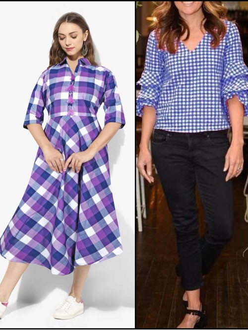 Purple and Blue Colored Beautiful A-Line Cotton Kurti and Ruffle Sleeves Top Top Combo