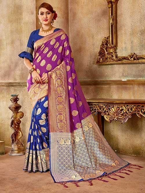 Purple and Navy colored Beautiful Banarasi Silk Saree