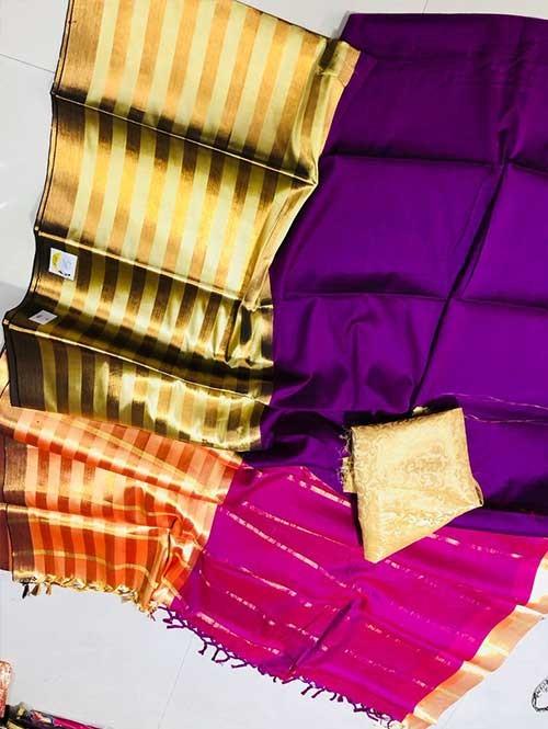 Purple and Pink Colored Beautiful Pure Silk Cotton Saree