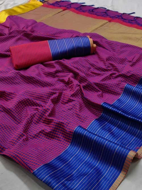 Purple Color Beautiful Chex Printed Banarasi Silk Saree
