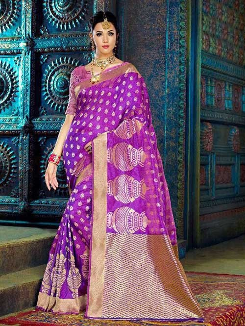 Purple Color Beautiful Waving Silk Saree