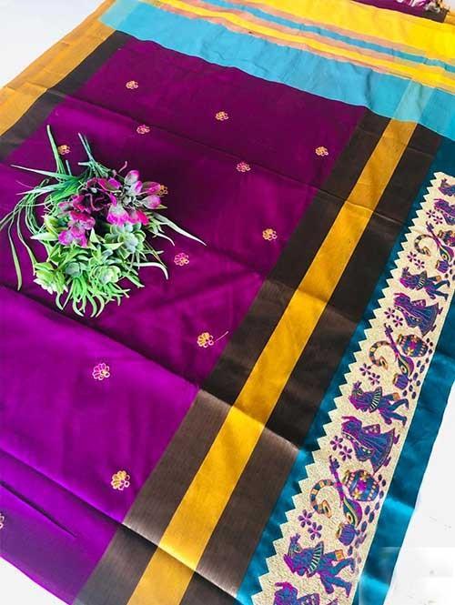 Purple Color Beautiful Weaving Cotton Silk Saree - Jaisalmer