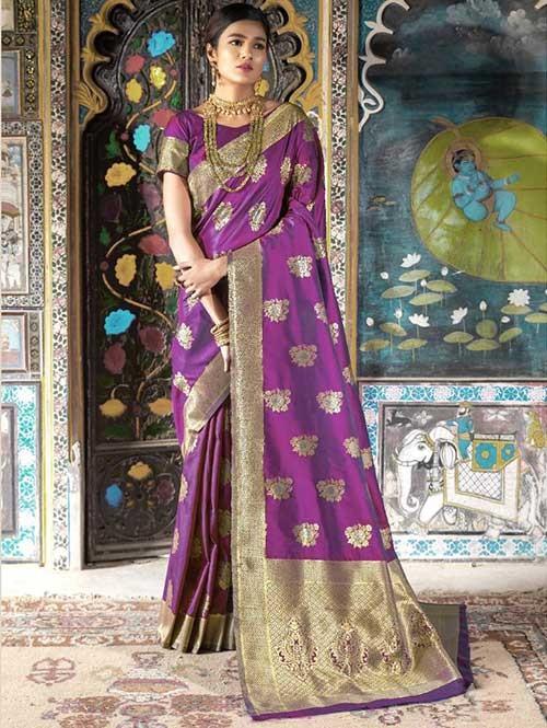 Purple Color Beautiful Weaving Silk Saree - Kailashi
