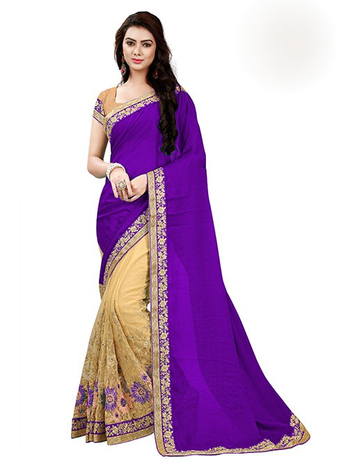 Purple Color Beautiful Chiffon and Net saree with Blouse