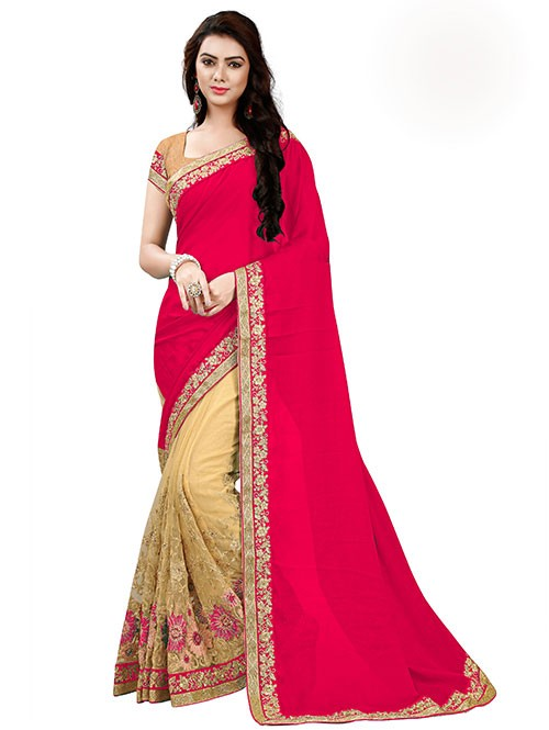 Rani Color Beautiful Chiffon and Net saree with Blouse