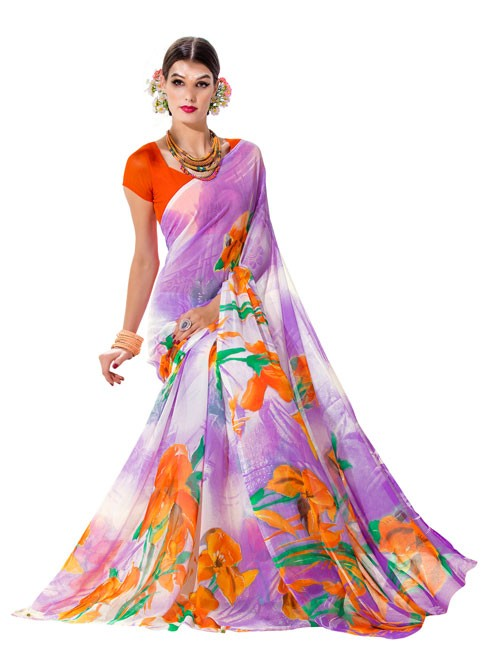 Purple Color floral Printed Beautiful weightless saree with Blouse