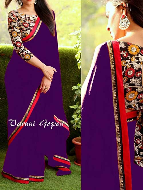 Purple Colored Beautiful 60gm Georgette Saree