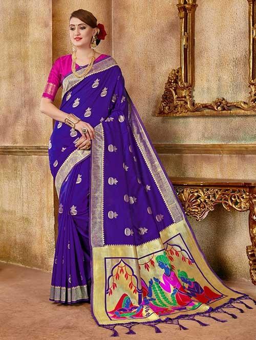 Purple colored Beautiful Banarasi Silk Saree