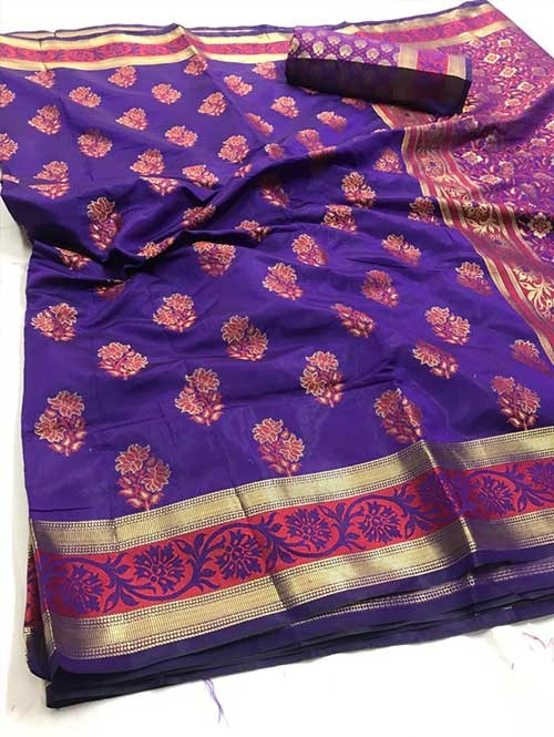 Purple Colored Beautiful Branded Soft Weaving Silk Saree - Lotus