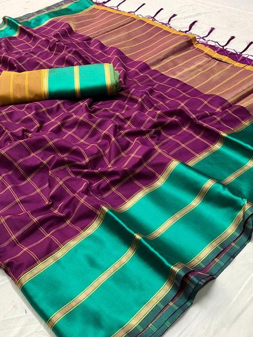 Purple Colored Beautiful Branded Weaving Silk Saree - Vedika