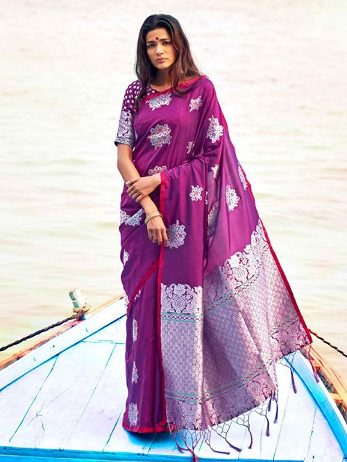 Purple Colored Beautiful Branded Weaving Soft Silk Saree