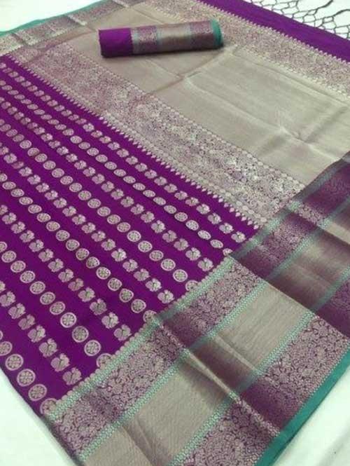 Purple Colored Beautiful Branded Weaving Soft Silk Saree