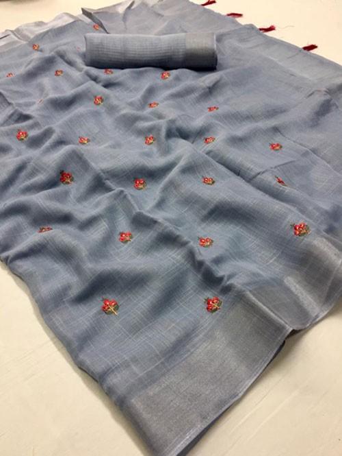 Purple Colored Beautiful Embroidered Linen Saree - Kashmir