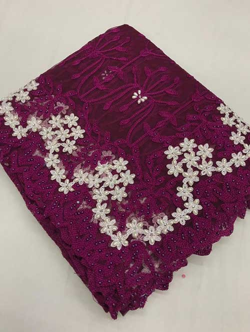 Purple Colored Beautiful Embroidered Net Saree With Dimond work and Pearl work