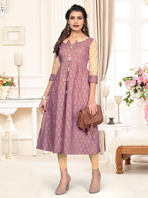 Purple Colored Beautiful Foil Printed A-line Cotton Kurti