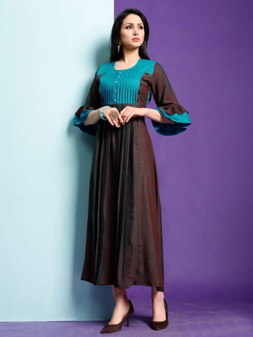 Purple Colored Beautiful Printed Pleated Two Tone With Weaving Cotton Kurti.