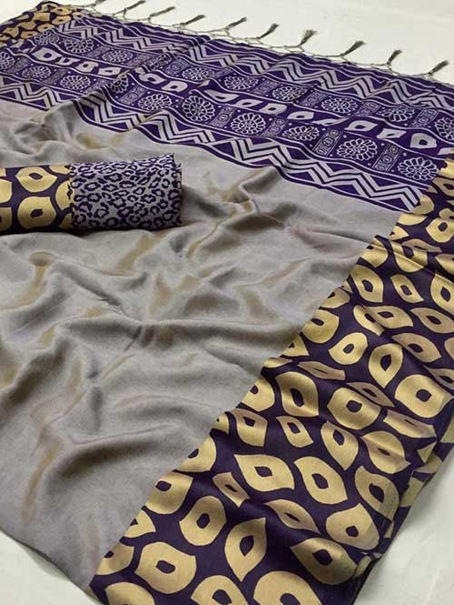 Purple Colored beautiful Printed Silk Saree