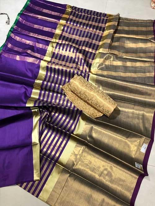 Purple Colored Beautiful Pure Silk Cotton Saree