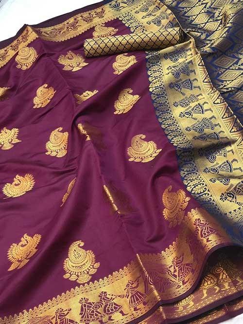 Purple Colored Beautiful Soft Banarasi Silk Fancy Saree Online