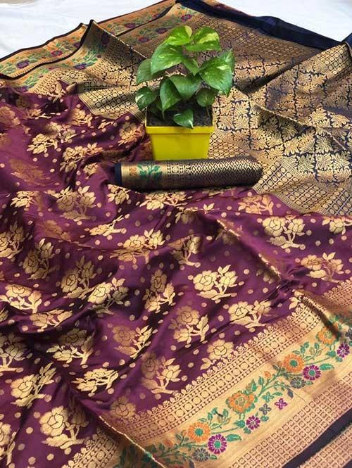 Purple Colored Beautiful Soft Banarasi Silk Mina Work Silk Saree Online