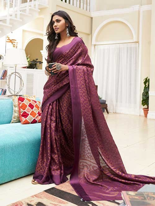 Purple Colored Beautiful Soft Brasso Silk Fancy Saree - Elegance