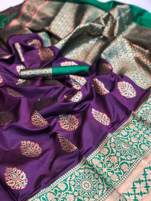 Purple Colored Beautiful Soft Katan Silk Traditional Saree Online