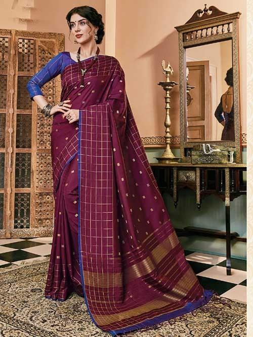 Purple Colored Beautiful Soft Silk Fancy Saree Online - Mishika