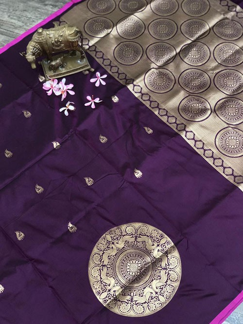 Purple Colored Beautiful Soft Silk Traditional Saree Online