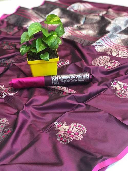 Purple Colored Beautiful Soft Silk Traditional Saree Online