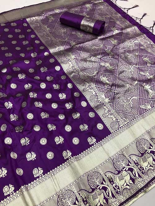 Purple Colored Beautiful Soft Silk Traditional Saree With Kachi Border