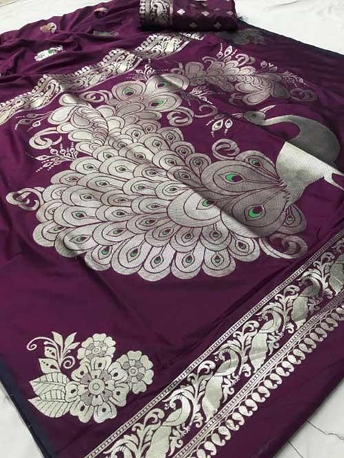 Purple Colored Beautiful Soft Weaving Silk Peacock Pallu Designer Saree - new saree collection
