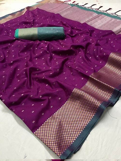 Purple Colored Beautiful Thousand Butta Of Zari Soft Saree - Kanga