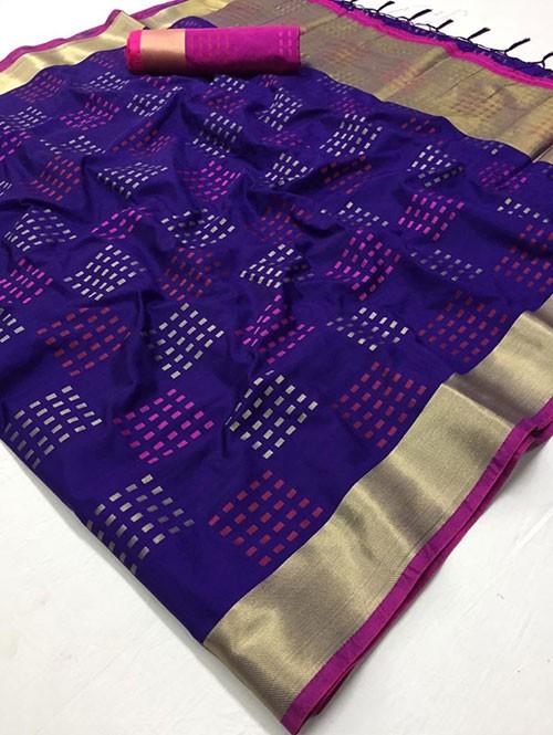 Purple Colored Beautiful Thousand Butta Of Zari Soft Saree - Kangan