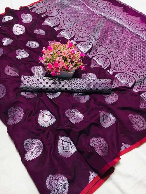 Purple Colored Beautiful Weaving Banarasi Silk Saree - Silver