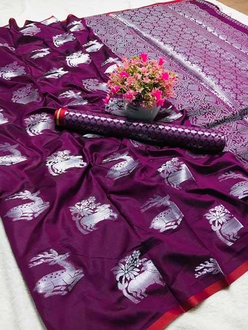 Purple Colored Beautiful Weaving Banarasi Silk Saree - Silver