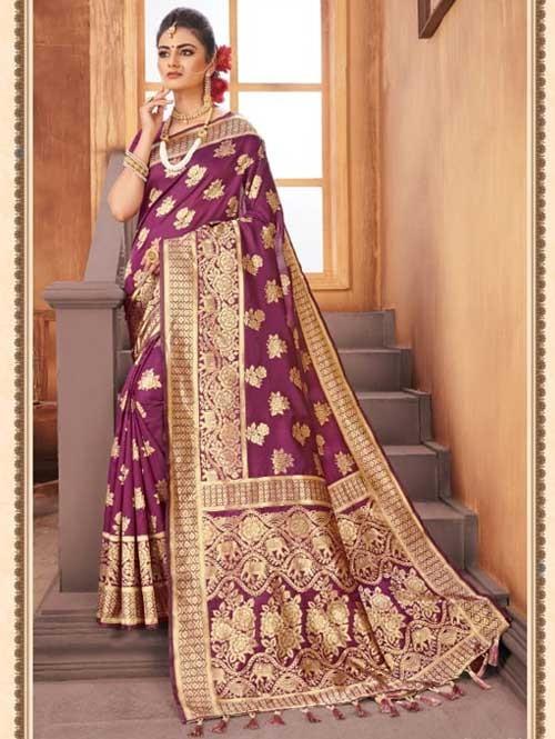 Purple Colored Beautiful Weaving Silk Saree - Digi Moda