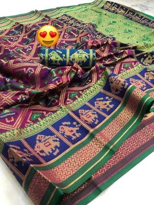Purple Colored Beautiful Weaving Silk Saree - Patola