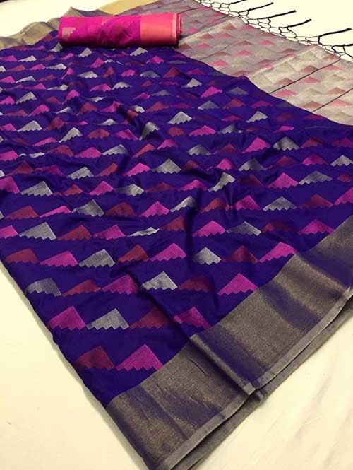 Purple Colored Beautiful Weaving Silk Saree - Yutika