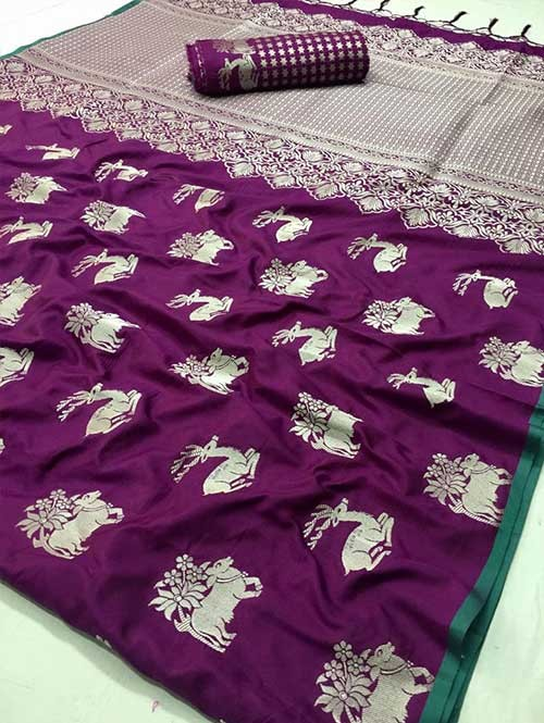 Purple Colored Branded Soft Silk Saree - Riddham
