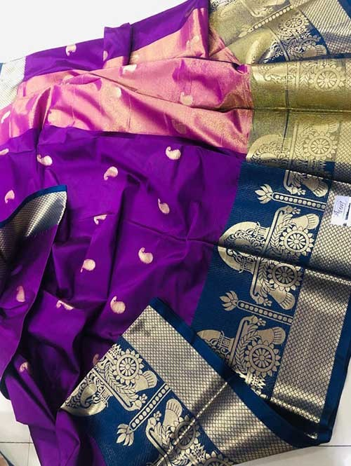 Purple Colored Cotton Silk Saree - Ashika Butta