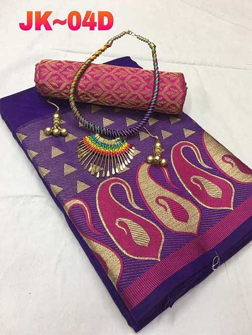 Purple Colored Gorgeous Saree With Fancy NeckLess