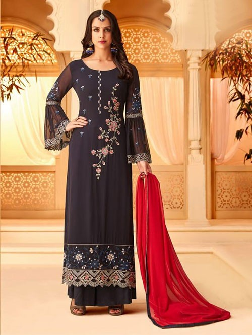 Purple Colored Heavy Embroidered Original Georgette Salwar Suit Material