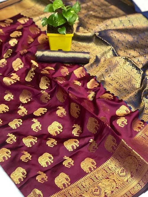 Purple Colored Soft Banarasi Silk Animal Butta Weaving Saree Online