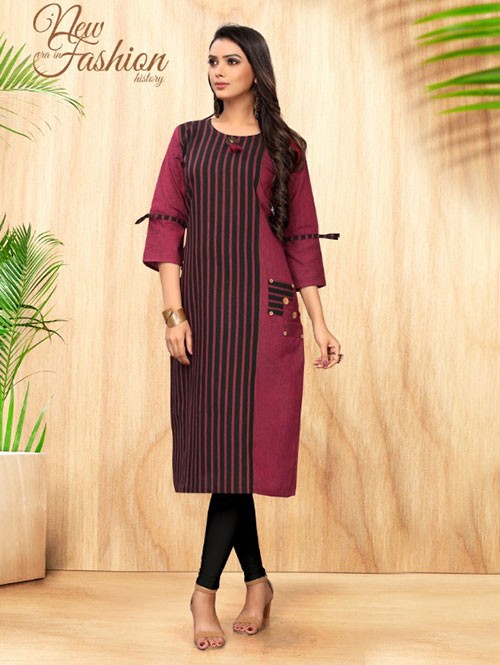 Purple Colored Straight Hadloom Cotton Kurti Online - 5 Star