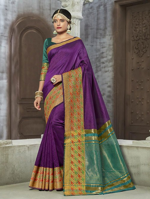 Purple Colored Zari Chex Cotton Silk Fancy Saree